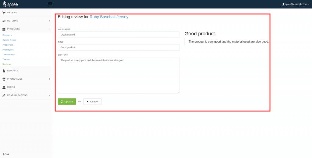 Admin can edit any reviews