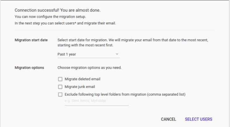 configure the migration setup