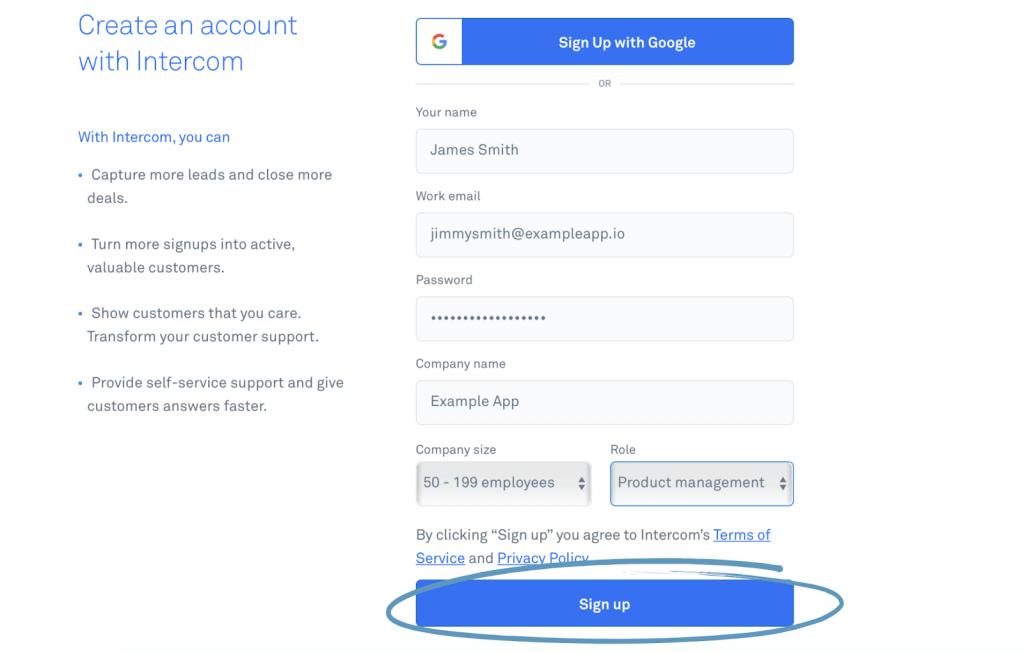 Create Account on Intercom