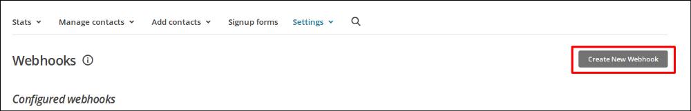 Create new web hook button