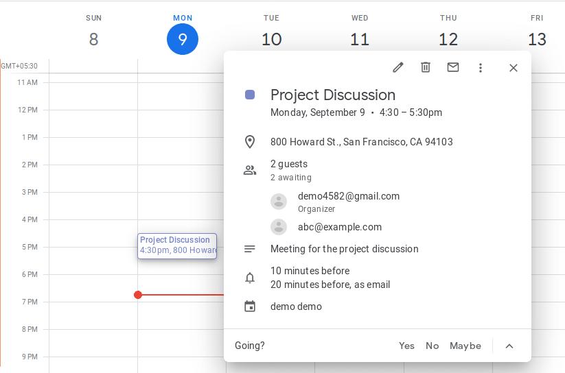 Google Calendar API 11