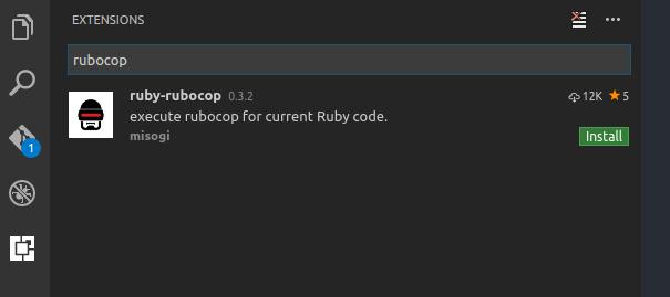 install rubocop on visual studio