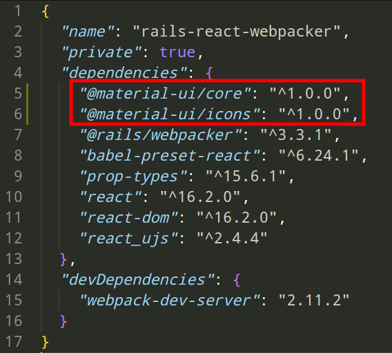 material-ui in package.json