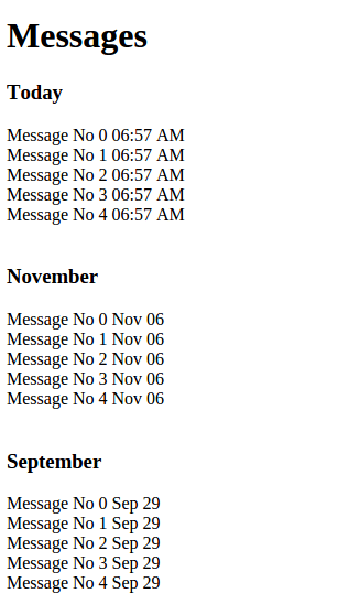 grouping of the messages