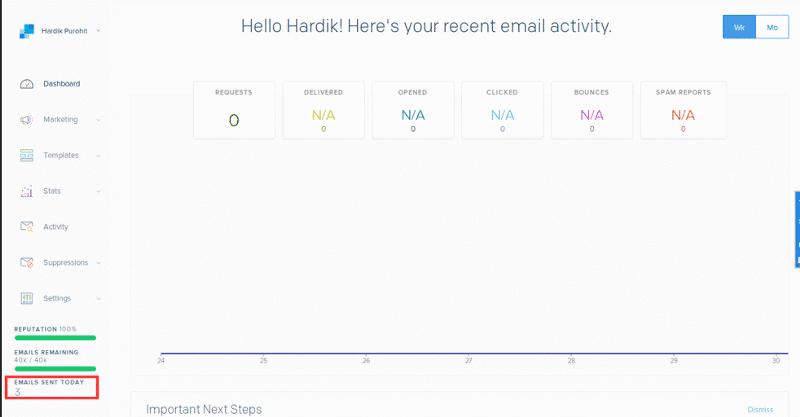 sendgrid dashboard update