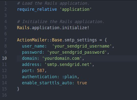 sendgrid email configure