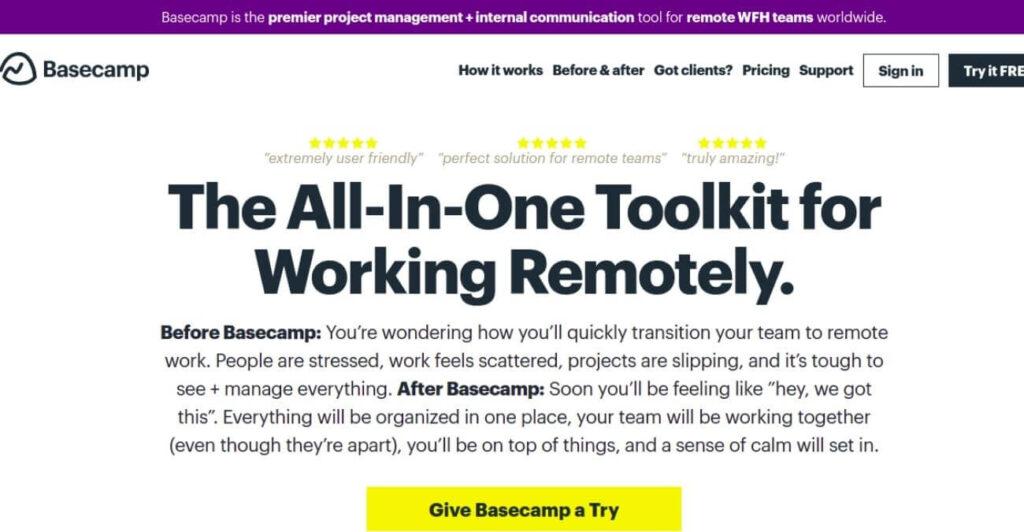 Basecamp - online toolkit
