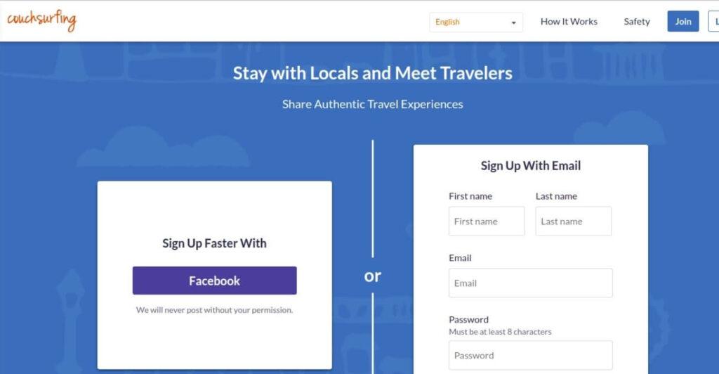 Couchsurfing - travel platform
