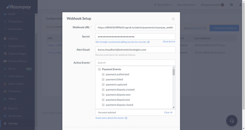Webhook Setup modal
