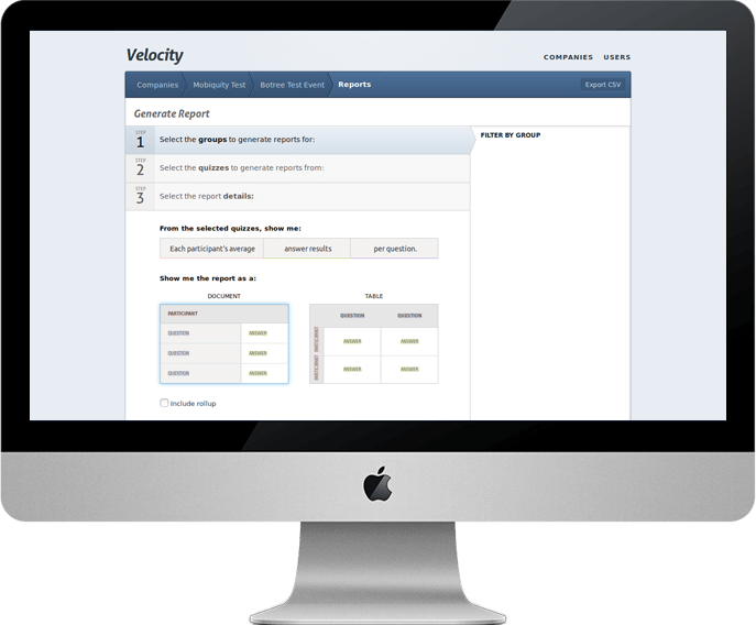 Velocity Generate Reports